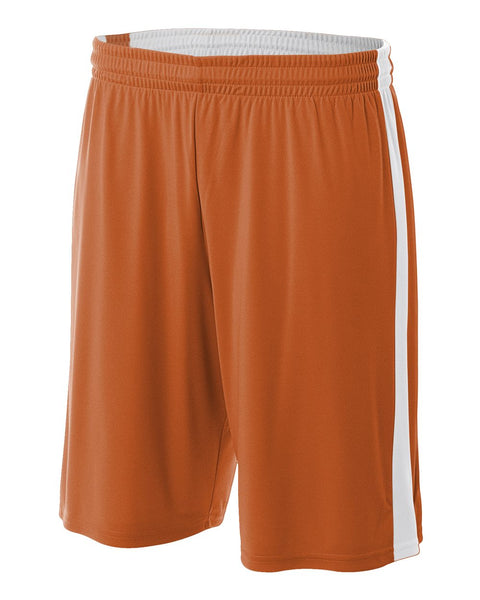 "A4 N5284 Reversible Moisture Management 10"" Short - Orange White"