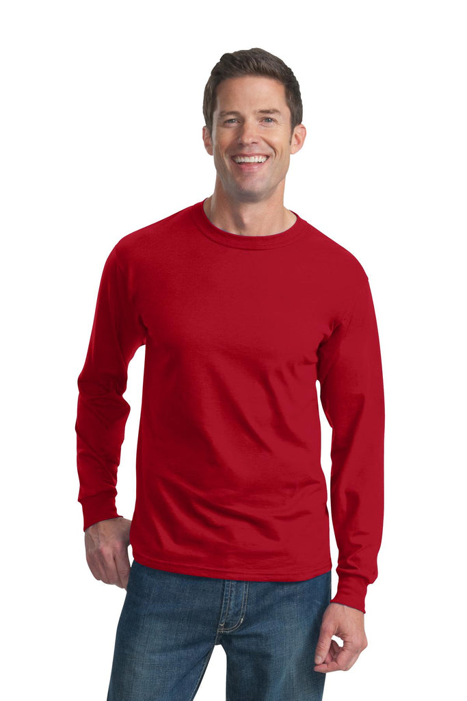 Fruit of the Loom 4930 HD Cotton 100% Cotton Long Sleeve T-Shirt - True Red - HIT A Double