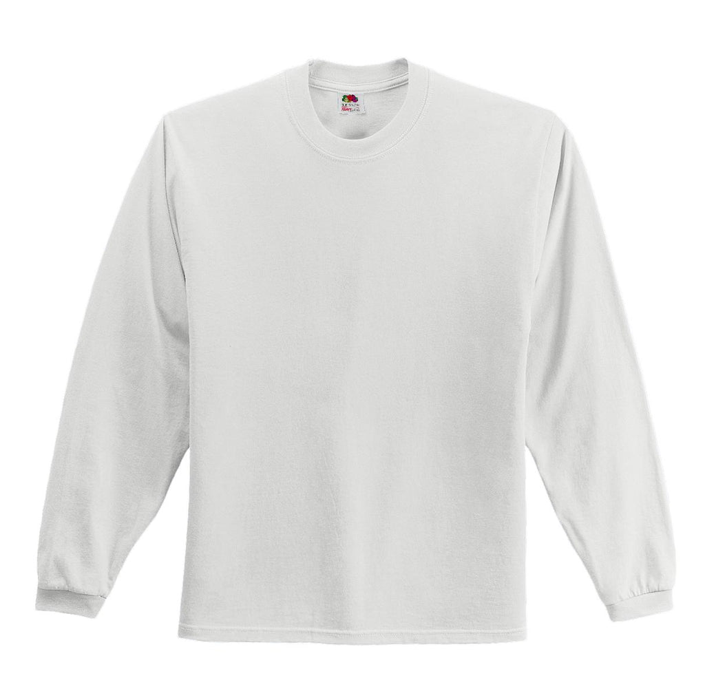 Fruit of the Loom 4930 HD Cotton 100% Cotton Long Sleeve T-Shirt - White - HIT A Double