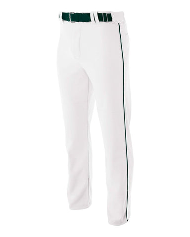 A4 N6162 Pro Style Open Bottom Baggy Cut Baseball Pant - White Forest