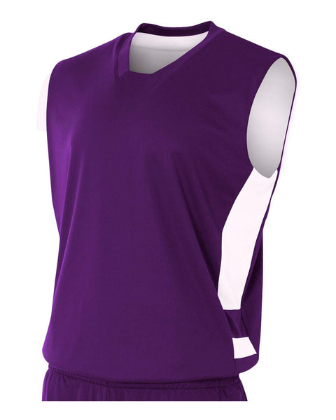 A4 NB2349 Youth Reversible Speedway Muscle Tee - Purple White