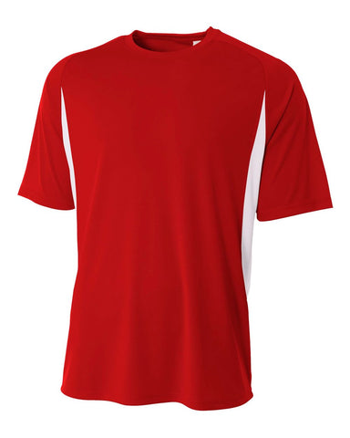 A4 N3181 Cooling Performance Color Blocked Short Sleeve Crew - Scarlet White