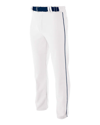 A4 N6162 Pro Style Open Bottom Baggy Cut Baseball Pant - White Navy