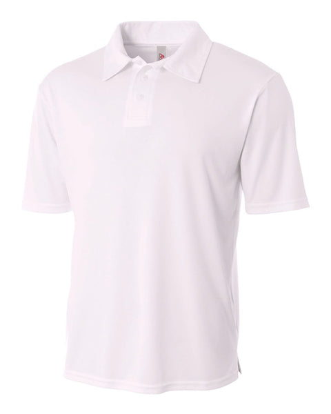 A4 N3261 Solid Interlock Performance Polo - White