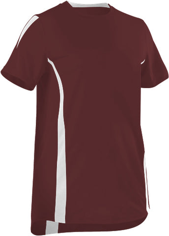 Alleson 506CAWY Girl's Fastpitch Crew Neck Jersey - Maroon White