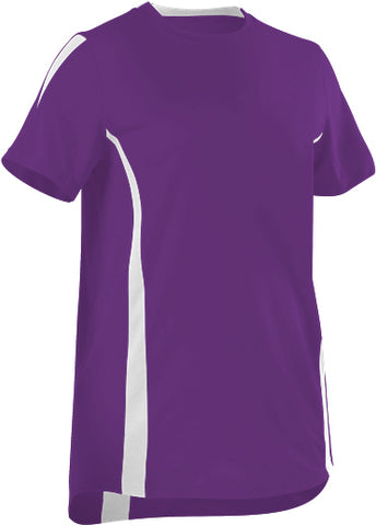 Alleson 506CAWY Girl's Fastpitch Crew Neck Jersey - Purple White