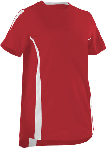 Alleson 506CAW Women's Fastpitch Crew Neck Jersey - Scarlet White