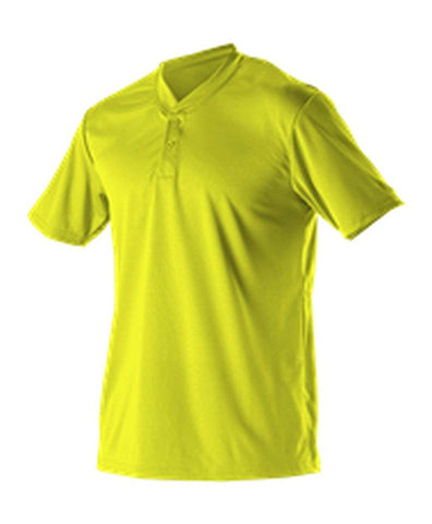 Alleson 522MM Adult Baseball 2 Button Henley Jersey - Lime