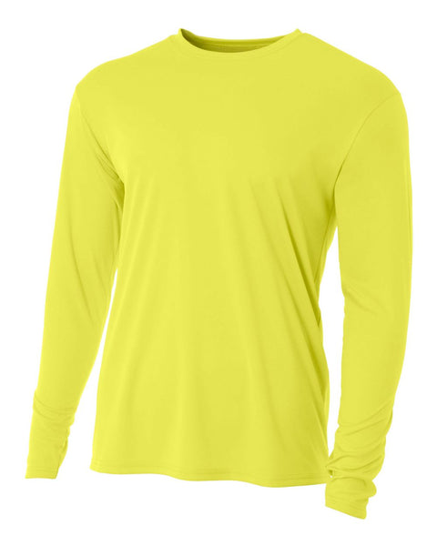 A4 N3165 Cooling Performance Long Sleeve Crew - Safety Yellow