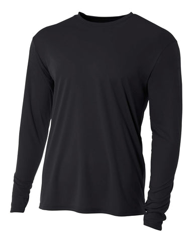 A4 NB3165 Youth Cooling Performance Long Sleeve Crew - Black