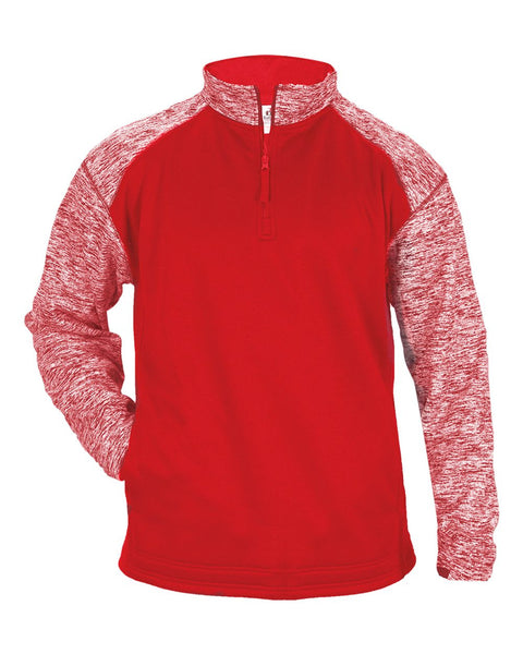 Badger 1487 Blend Sport 1/4 Zip - Red Red Blend - Outerwear - Hit A Double