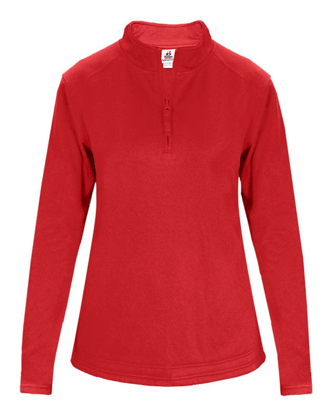 Badger 1486 1/4 Zip Poly Fleece Ladies Pullover - Red - Outerwear - Hit A Double