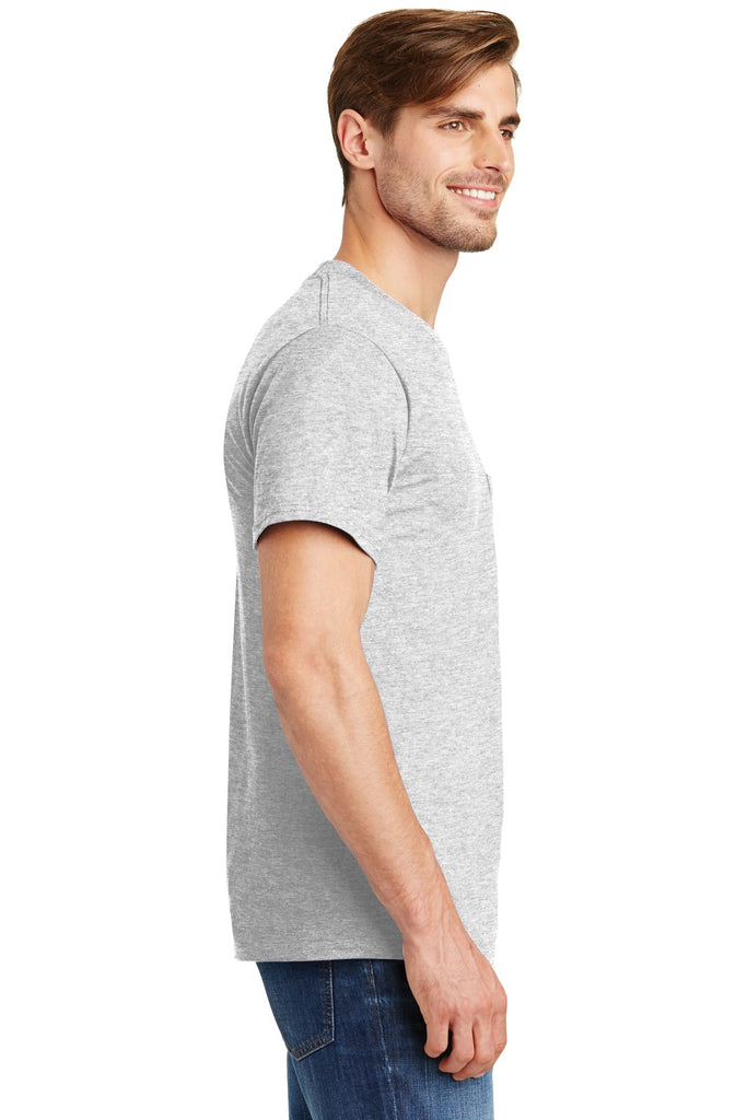 Hanes 5190 Beefy-T 100% Cotton T-Shirt with Pocket - Ash - HIT A Double
