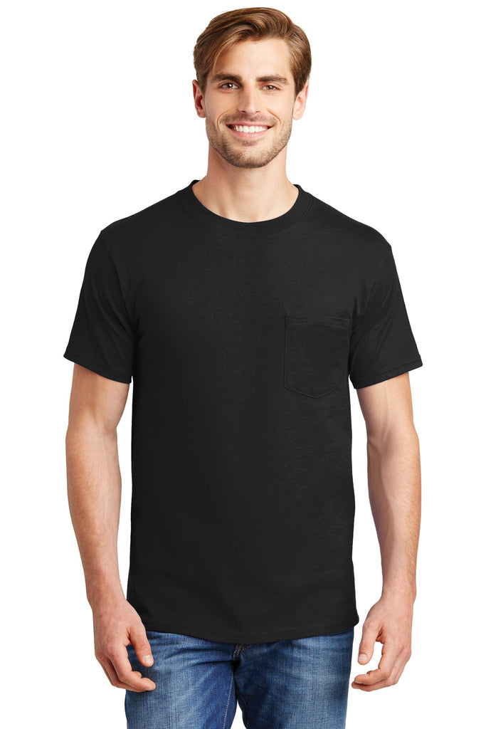 Hanes 5190 Beefy-T 100% Cotton T-Shirt with Pocket - Black - HIT A Double