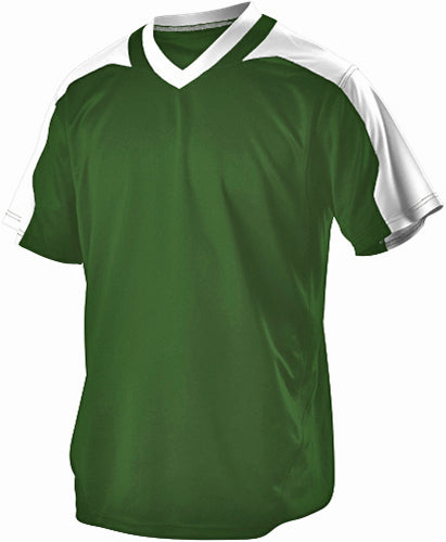 Alleson 521VNY Youth Vneck Baseball Jersey - Green White