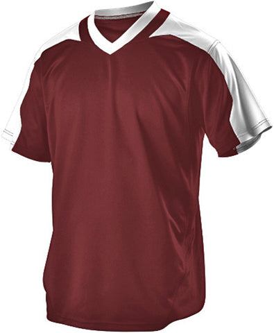 Alleson 521VNY Youth Vneck Baseball Jersey - Maroon White