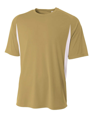 A4 N3181 Cooling Performance Color Blocked Short Sleeve Crew - Vegas Gold White