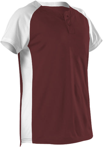 Alleson 522PDWG Girl's Two Button Fastpitch Jersey - Maroon White