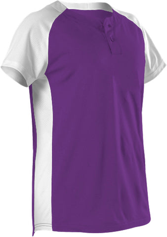 Alleson 522PDWG Girl's Two Button Fastpitch Jersey - Purple White