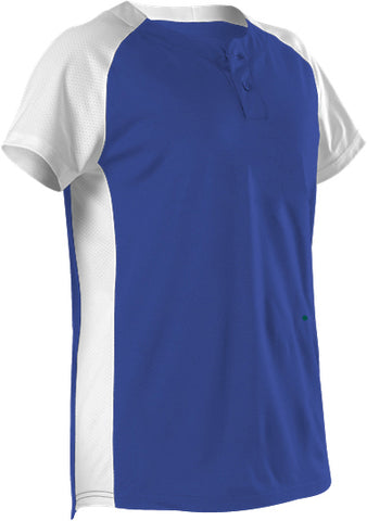 Alleson 522PDWG Girl's Two Button Fastpitch Jersey - Royal White