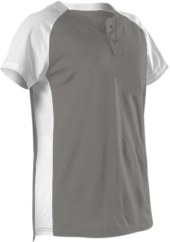 Alleson 522PDW Women's Two Button Fastpitch Jersey - Silver White