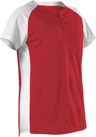 Alleson 522PDWG Girl's Two Button Fastpitch Jersey - Scarlet White