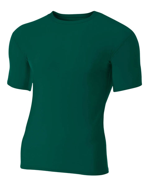 A4 N3130 Short Sleeve Compression Crew - Forest