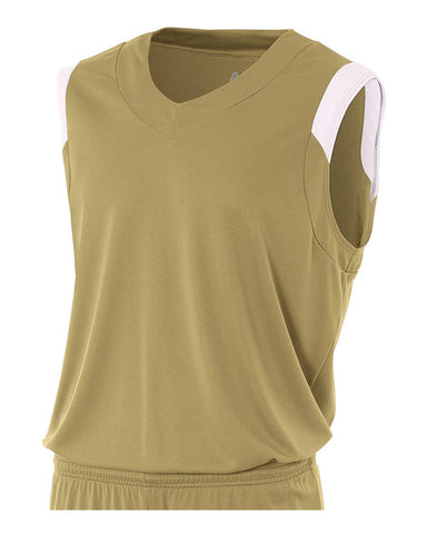 A4 N2340 Moisture Management V-neck Muscle - Vegas Gold White