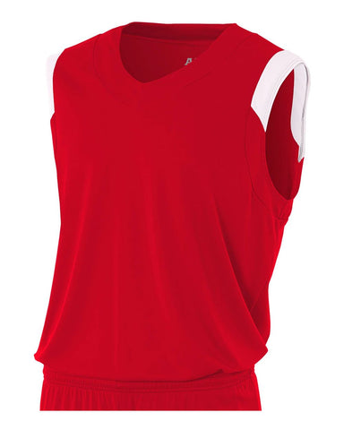 A4 N2340 Moisture Management V-neck Muscle - Scarlet White