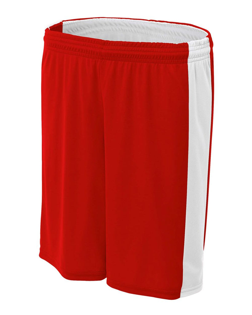 "A4 NW5284 Women's Reversible Moisture Management 8"" Short - Scarlet White - HIT A Double"