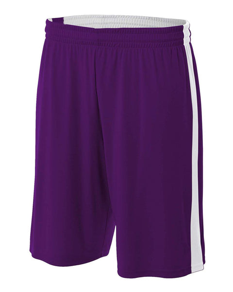 "A4 NB5284 Youth Reversible Moisture Management 8"" Short - Purple White"