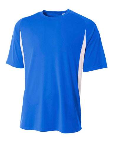 A4 N3181 Cooling Performance Color Blocked Short Sleeve Crew - Royal White
