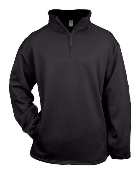 Badger 2480 1/4 Zip Poly Fleece Youth Pullover - Black - Outerwear - Hit A Double