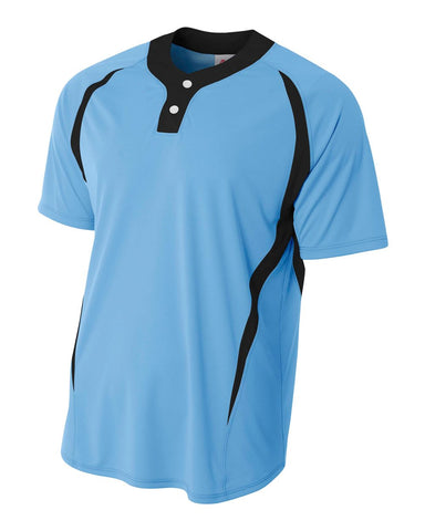 A4 N4229 2-Button Color Blocked Baseball Henley - Light Blue Black