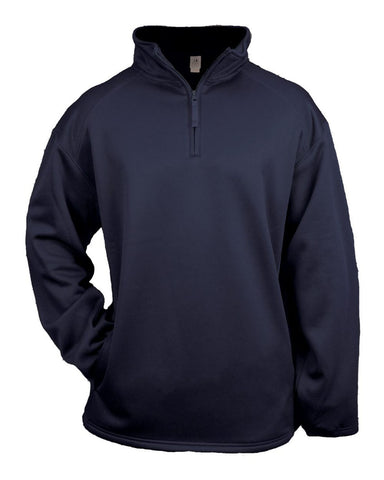 Badger 2480 1/4 Zip Poly Fleece Youth Pullover - Navy - Outerwear - Hit A Double
