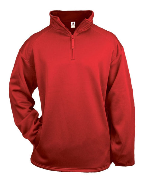 Badger 2480 1/4 Zip Poly Fleece Youth Pullover - Red - Outerwear - Hit A Double