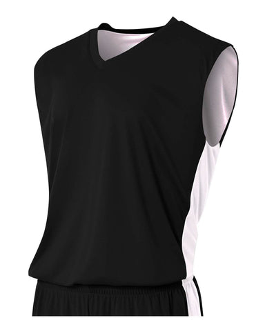 A4 N2320 Reversible Moisture Management Muscle - Black White