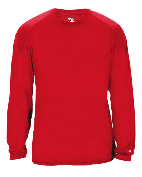 Badger 2004 Ultimate Softlock Youth Long Sleeve Tee - Red - Baseball Apparel, Softball Apparel, Football, Soccer, Tennis, Lacrosse/Field Hockey, Band, Bowling, Training/Running, Casual Wear - Hit A Double - 1