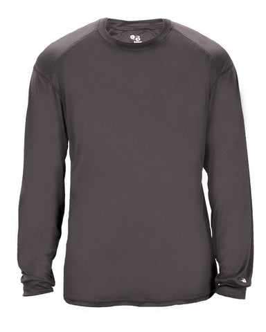 Badger 2004 Ultimate Softlock Youth Long Sleeve Tee - Graphite - Baseball Apparel, Softball Apparel, Football, Soccer, Tennis, Lacrosse/Field Hockey, Band, Bowling, Training/Running, Casual Wear - Hit A Double - 1