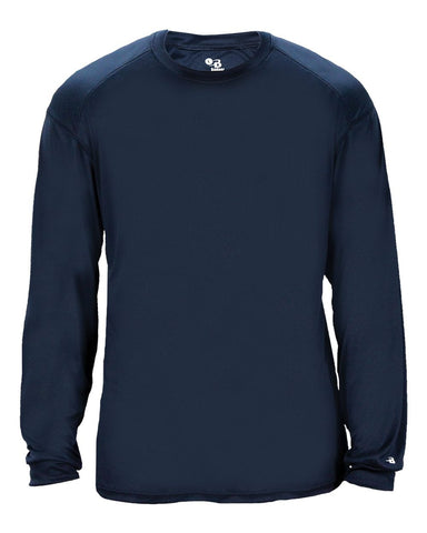 Badger 2004 Ultimate Softlock Youth Long Sleeve Tee - Navy - Baseball Apparel, Softball Apparel, Football, Soccer, Tennis, Lacrosse/Field Hockey, Band, Bowling, Training/Running, Casual Wear - Hit A Double - 1
