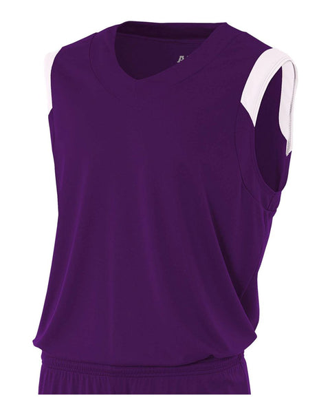 A4 N2340 Moisture Management V-neck Muscle - Purple White
