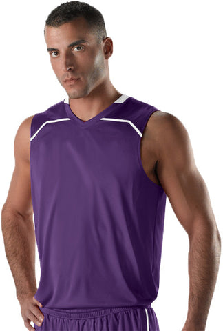 Alleson 537J Men's Basketball Jersey - Purple White - Basketball - Hit A Double