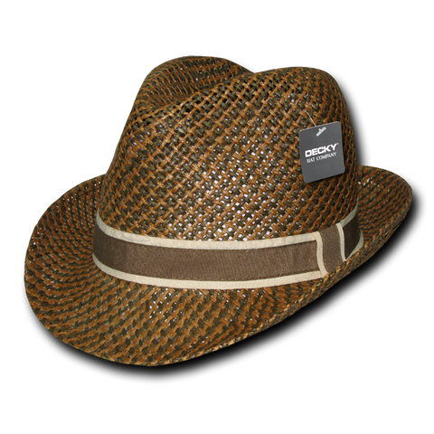 Lunada Bay 538 Paper Braid Woven Fedora - Brown - HIT A Double
