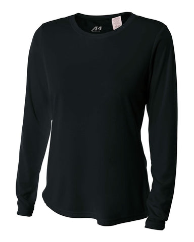 A4 NW3002 Women's Long Sleeve Performance Crew - Black
