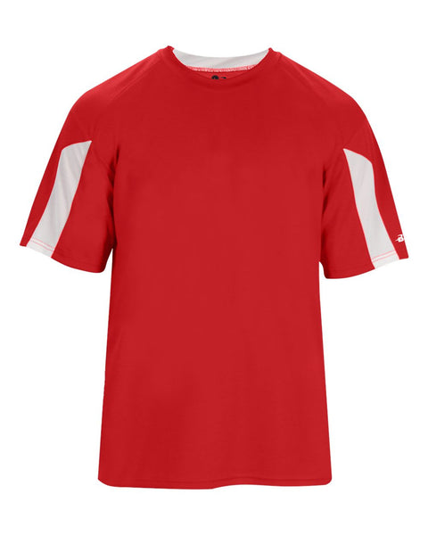 Badger 2176 Striker Youth Tee - Red White - Baseball Apparel, Softball Apparel, Football, Soccer, Tennis, Lacrosse/Field Hockey, Band, Bowling, Training/Running, Fanwear - Hit A Double