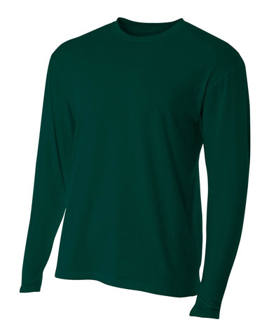 A4 N3221 Fusion Cotton Long Sleeve Performance Crew - Forest