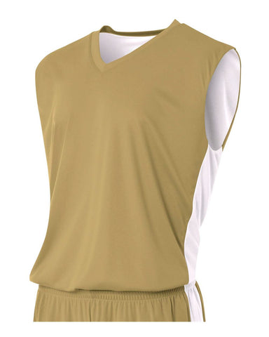 A4 NB2320 Youth Reversible Moisture Management Muscle - Vegas Gold White