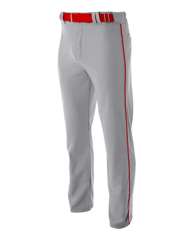 A4 N6162 Pro Style Open Bottom Baggy Cut Baseball Pant - Gray Scarlet