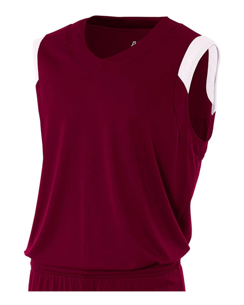 A4 N2340 Moisture Management V-neck Muscle - Maroon White