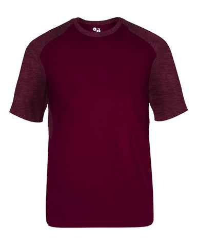 Badger 2178 Tonal Blend Youth Panel Tee - Maroon Maroon Tonal Blend - Baseball Apparel, Bowling, Fanwear, Lacrosse/Field Hockey, Soccer, Training/Running - Hit A Double